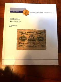 SINCONA World Banknotes Auction 27 Hardcover Catalogue Literature (270 Pages) Very-New Condition!