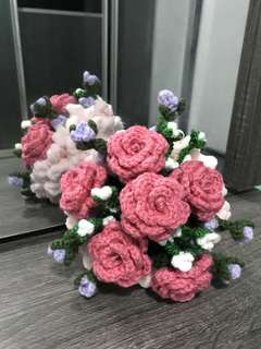 Crochet flower bouquet- dark pink roses with white n lilac flowers