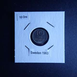 10 Ore Sweden 1963 in coin holder (as is)