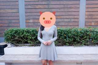 H&M gray longsleeves dress #hm299