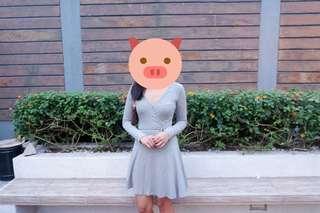 H&M gray longsleeves dress #hm299