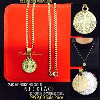 Hong Kong Gold 24k St. Benedict Necklace