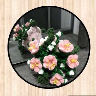 Crochet flower bouquet- baby pink - medium