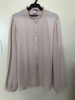 F21 Old Rose Long Sleeve Blouse