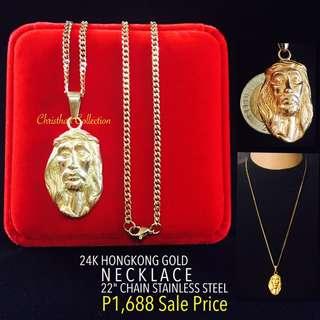 Hong Kong gold 24k Jesus Face Pendant Necklace