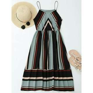 Striped midi dress (blue)