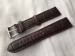 Leather Strap Alligator Style Brown 20mm