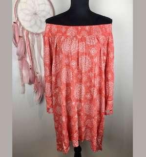 Autograph 22 orange pink plus size women dress tunic boho hippy tassel shoulder