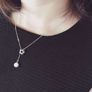 Star And Pearl 18K Gold Plated Necklace