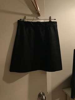 Ava black leather skirt