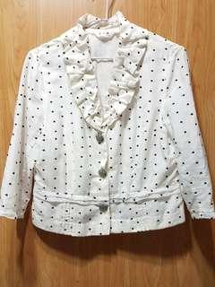 百貨專櫃名品 菲力雅 蠶絲純棉西裝式外套(白)