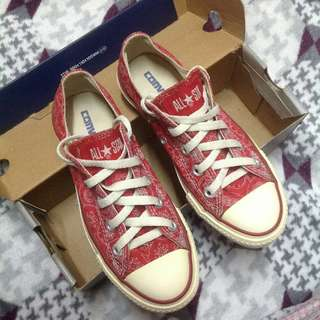 Authentic Converse Red Bandana Sneakers Shoes