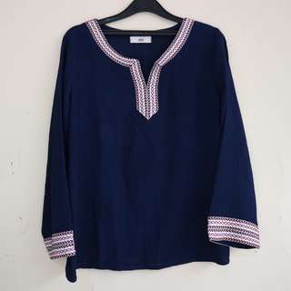 Navy Blouse with Tribal List