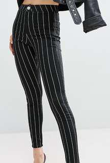 Super High Waisted Black Stripe Jegging