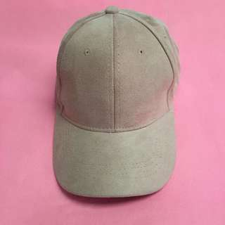 pink suede cap