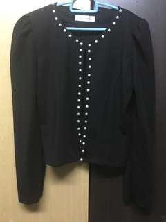 Cardigan Black With Pearl