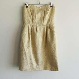 Cute H&M gold&cream Strapless Dress