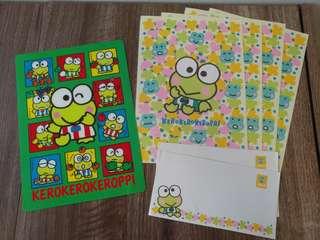 Sanrio keroppi kp青蛙 墊板 信封信紙