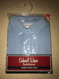 BNWT Kids School Uniform Blue Polo Shirt Size 8