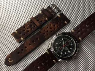 Leather Strap Racing Style 20mm for Chronograph Watches