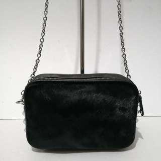 NB Studded Black Leather and Ponyhair Muti-way Crossbody Bag