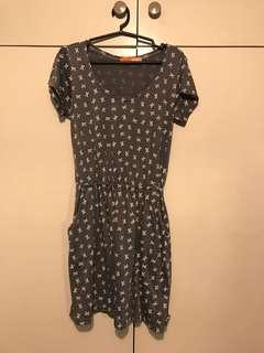 Mint Grey Ribbon Dress