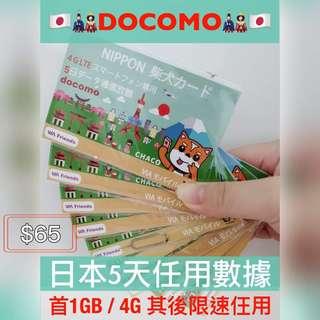 DoCoMo 日本5日4G無限任用上網卡