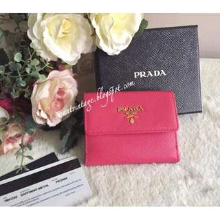 Prada 1M1350 Saffiano Metal Card Holder Wallet-Peonia