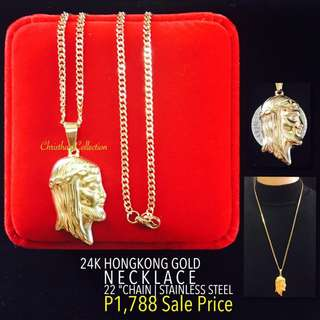 Hong Kong Gold 24k Jesus Face Pendant Necklace