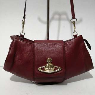 Vivienne Westwood Red Two-way Leather Shoulder Bag (Made in Italy) - Selling Low With Flaw