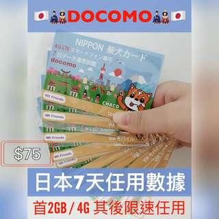 DoCoMo 日本7日4G無限任用上網卡