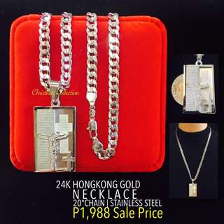 Hong Kong Gold 24k Holy Cross Pendant Necklace