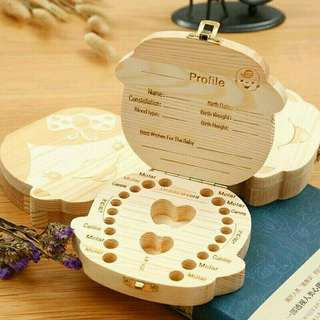 嬰兒寶寶 胎毛牙齒 臍帶保存紀念盒  兒童牙齒實木存放盒