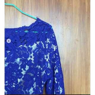 Floral royal blue dress