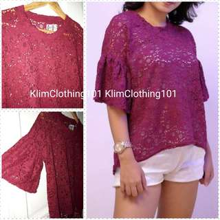 Maroon Lacey Top