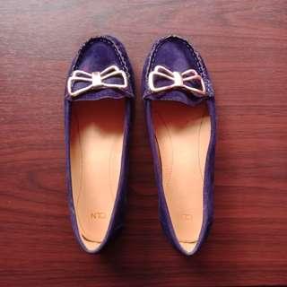 CELINE Size 37 Navy Blue Vintage Velvet Classic Ribbon Doll Shoes / Loafer Flats