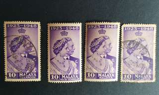 Malaya Silver Wedding Anniversary 1923-1948 mint and used