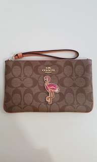 BNWT Authentic Large coated canvas Coach Wristlet