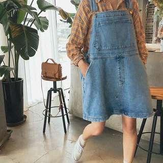 鬼馬系少女夏季減齡少女 做舊磨破廓形 牛仔裙寬寬又大大
