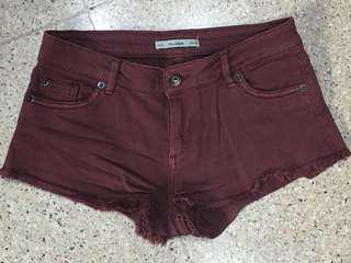 PULL&BEAR maroon shorts denim celana pendek