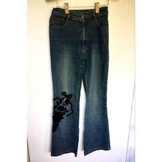 所有商品皆可議價‼️ 極少穿 專櫃品牌 Country&girl 刺繡牛仔褲