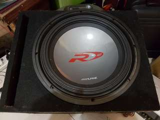 "Alpine woofer 12 "" type r super doublem dual 2 OHM with alpine monoblock v12 amp"