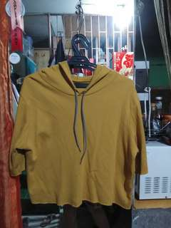 Mustard Yellow Cropped Hoodie Top