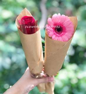 Sunflower / rose / Gerbera daisy fresh flower bouquet real flowers single stalk bouquet