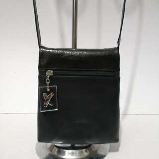 Authentic Paloma Picasso Black Cracked Leather and Calf Leather Sling Bag