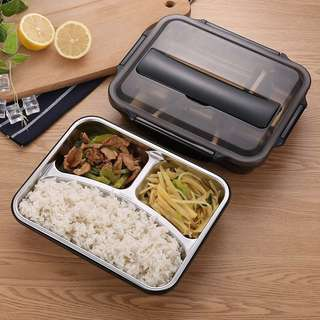 304 stainless steel insulation lunch box student adult lunch snack box separation plate compartment with cover seal double