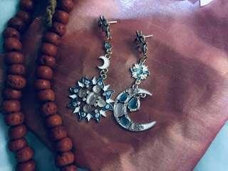 😍 Diego Percossi Papi Styled Celestial Rhinestones Drop Earrings