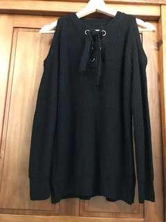 🚚 黑色露肩針織上衣 #畢業一百元出清