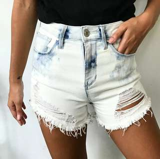 Guess High Waisted Distressed Denim Shorts 26