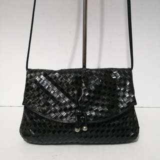 Authentic Vintage Bellesac Black Woven Very Soft Leather Sling Bag